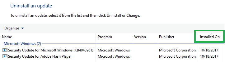 afinstallere Windows Update via programmer og funktioner